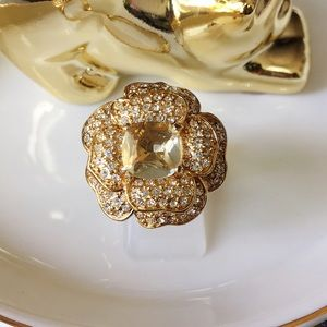 Stella&dot gold plated cz floral ring